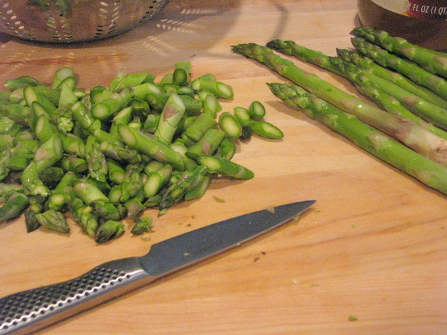 cut up asparagus