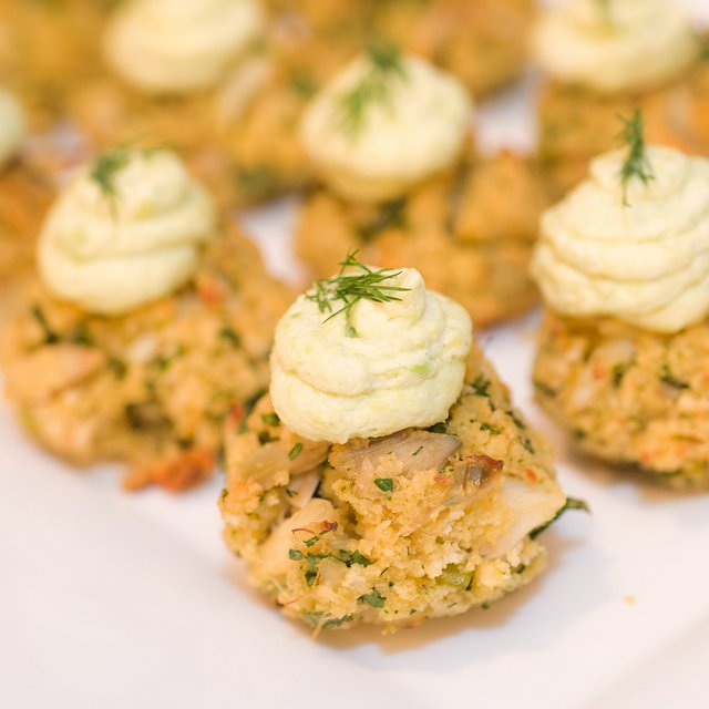 Mini Crab Cakes with Avocado Mousse